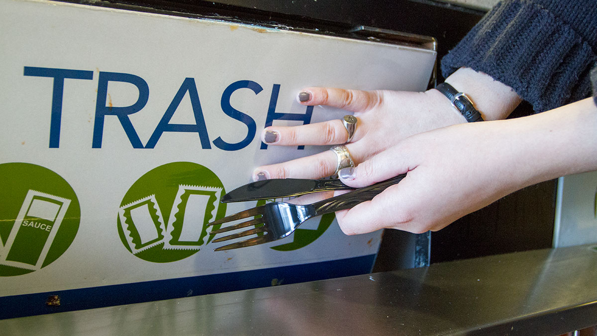 Ithaca College bans disposable utensils from compost
